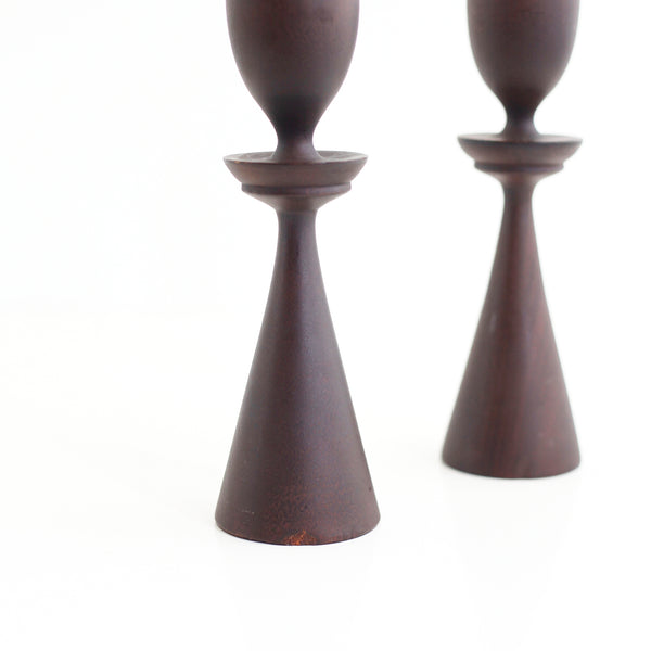 SOLD - Mid Century Modern Turned Wood Candlesticks