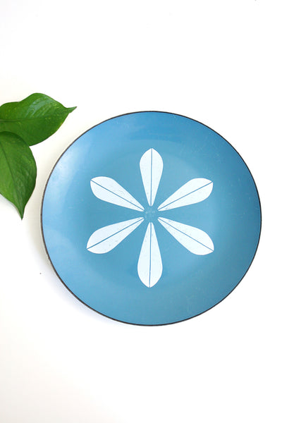SOLD - Vintage Cathrineholm Turquoise Blue and White Enamel Lotus Plate / Mid Century Modern Enamel Dish