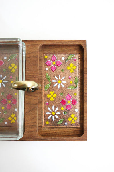 SOLD - Mid Century Modern Wood and Enameled Copper Serving Tray by Ernest John