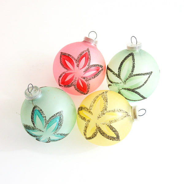 SOLD - Mid Century Pastel Christmas Ornaments