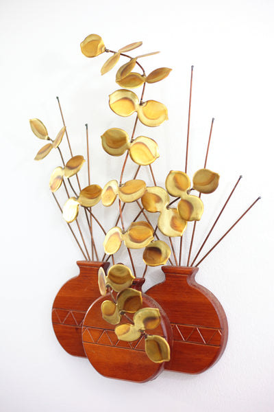 SOLD - Mid Century Modern Wood & Brass Plant Wall Hanging