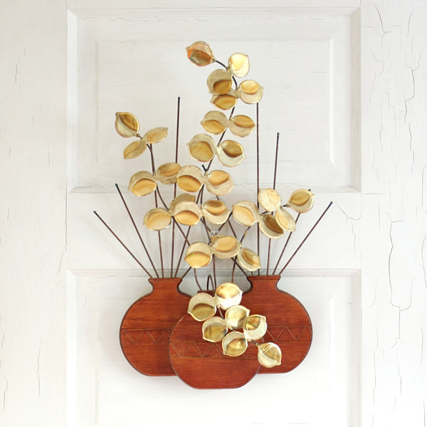 SOLD - Mid Century Modern Wood and Brass Plant Wall Hanging / Vintage Brass Plant Sculpture
