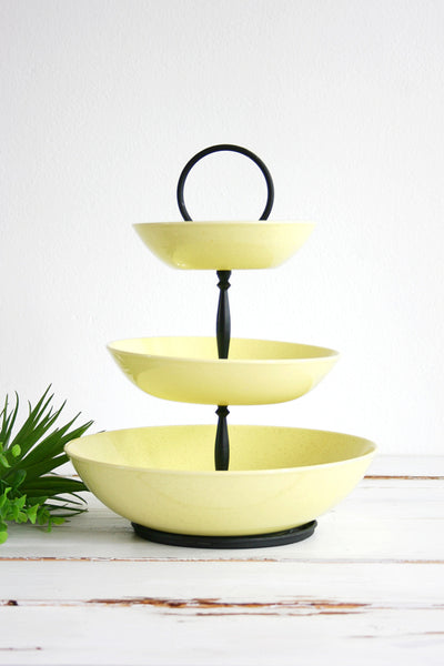 SOLD - Mid Century Modern Taylor Smith Taylor Yellow Pebbleford Three Tier Serving Tray