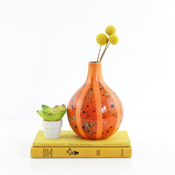 Mid Century Modern Orange Studio Pottery Vase
