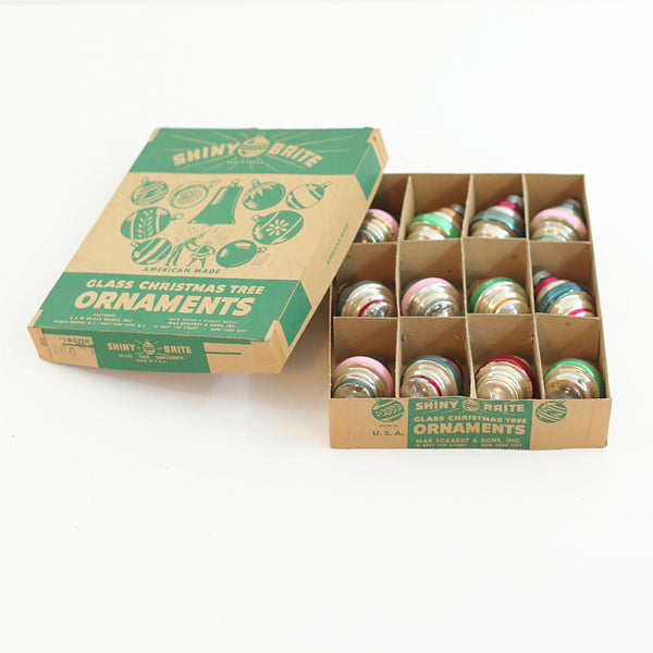 SOLD - 1950s Shiny Brite Atomic Lantern Ornaments w/ Box
