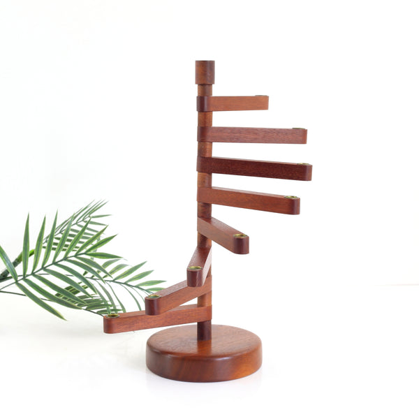 SOLD - Danish Modern Teak Wood Delavan Designs Tiered Candle Holder