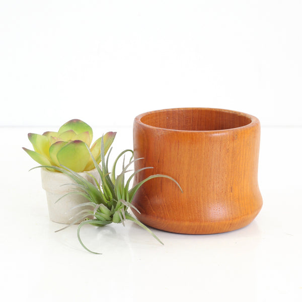 Mid Century Modern Teak Wood Candle Holder