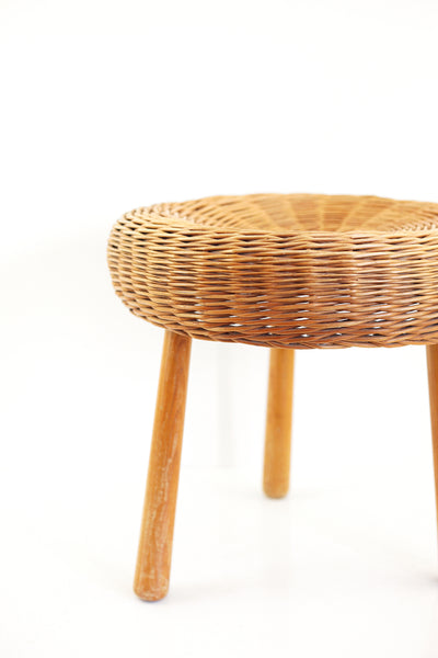 SOLD - Mid Century Tony Paul Style Wicker & Wood Tripod Plant Stand