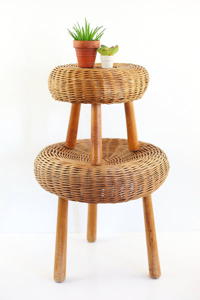 SOLD - Mid Century Tony Paul Style Wicker and Wood Small Tripod Stool