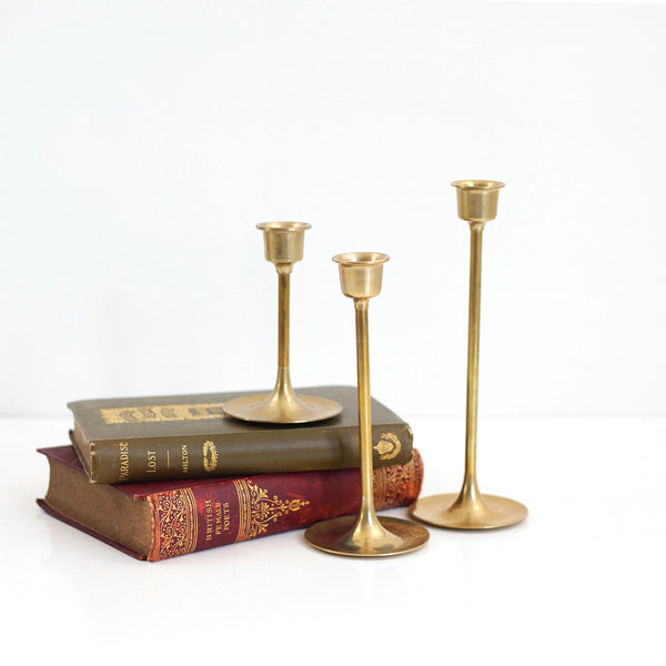 SOLD - Mid Century Graduated Brass Candlesticks - Set of Three