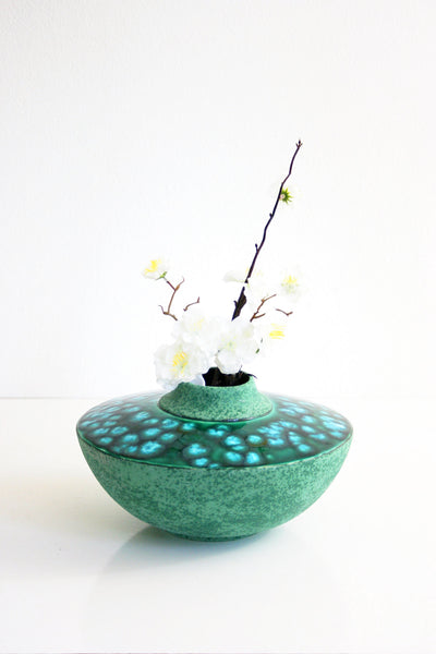 SOLD - Mid Century Modern Studio Pottery Vase / Vintage Turquoise and Emerald Green Vase