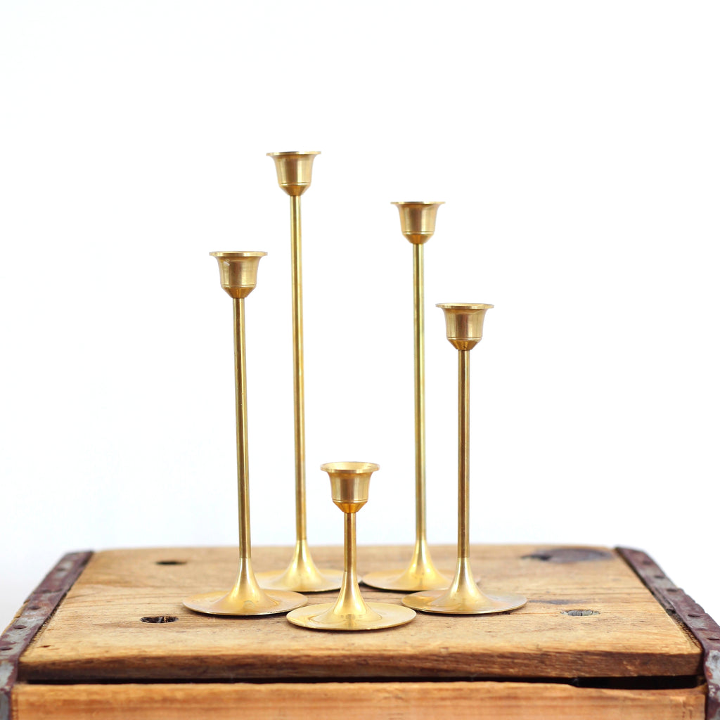 SOLD - Mid Century Graduated Brass Candlesticks - Set of Five