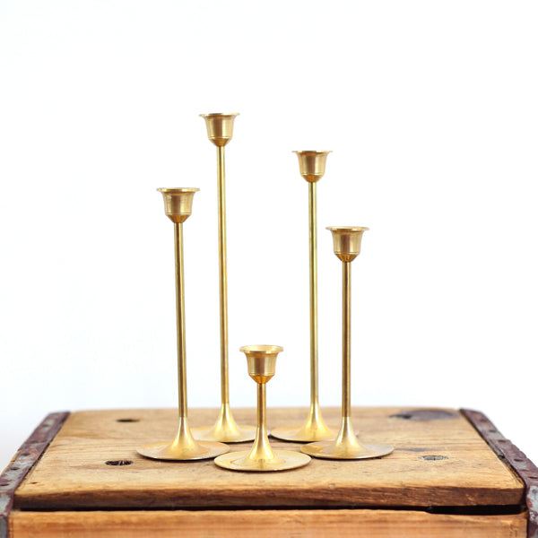 Mid Century Graduated Brass Candlesticks - Set of Five