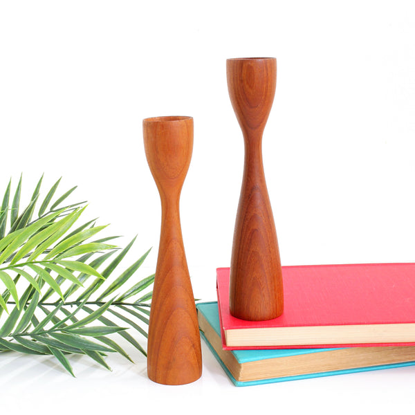 SOLD - Danish Modern Teak Wood Tulip Candlesticks by Artiform Denmark