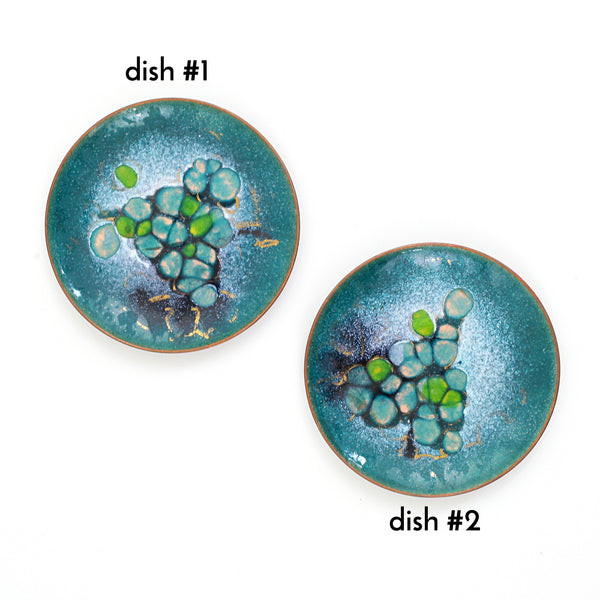Vintage Deep Turquoise Abstract Enamel Trinket Dish