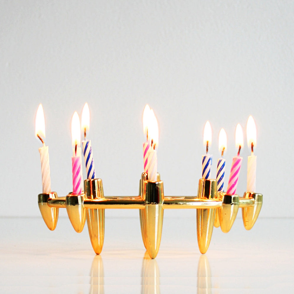 SOLD - Mid Century Modern Gold Atomic Tiny Taper Candle Holder