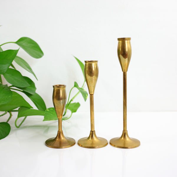 SOLD - Vintage Graduated Brass Tulip Candlesticks
