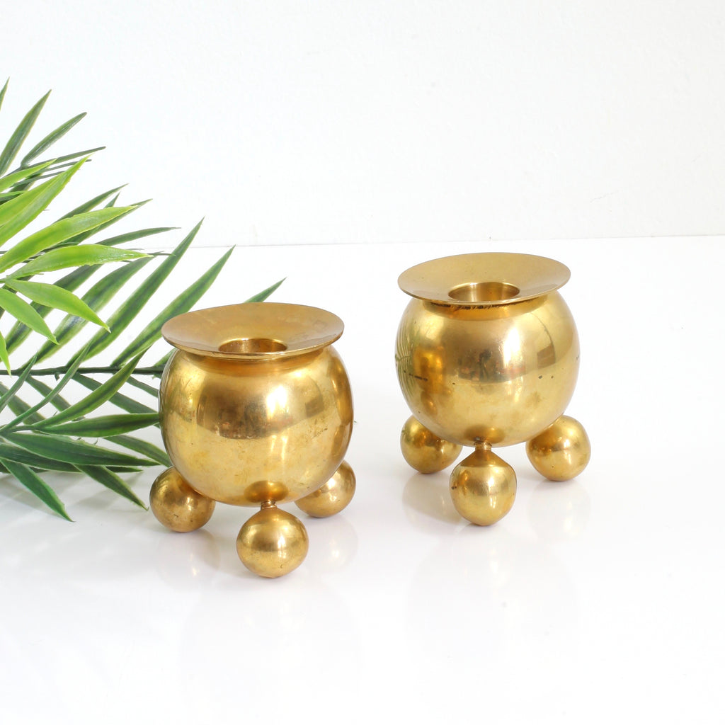 Vintage Pair of Bauhaus Brass Sphere Candlesticks