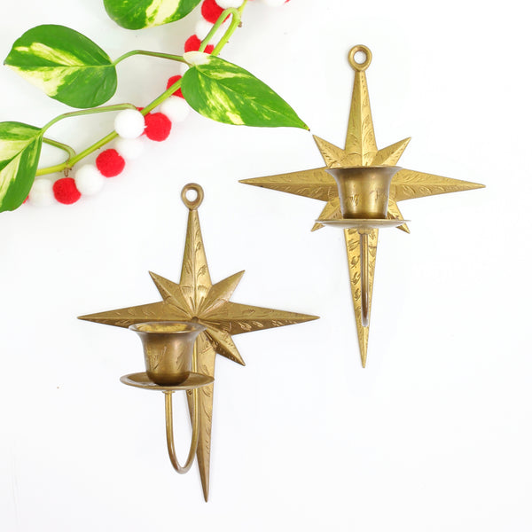 Mid Century Modern Brass Starburst Wall Sconce Candle Holders