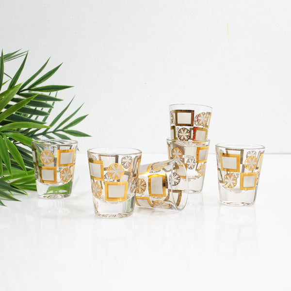 Mid Century Modern Gold Starburst Shot Glasses