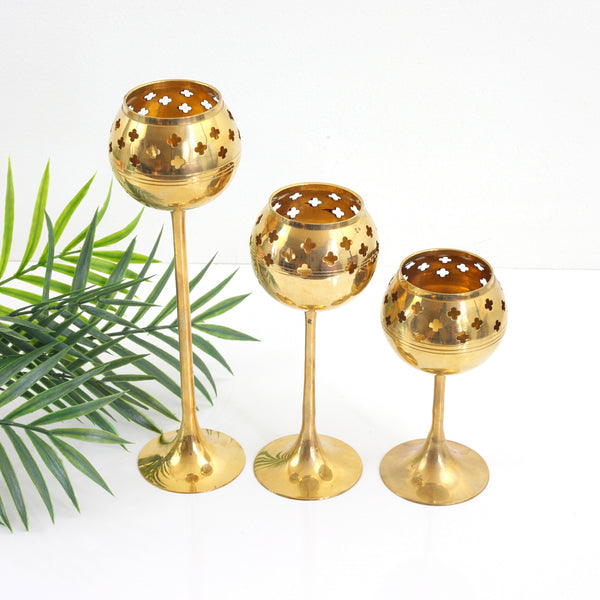 SOLD - Mid Century Graduated Brass Candle Holders
