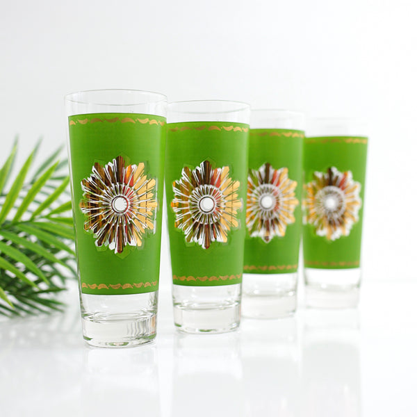 Mid Century Modern Green & Gold Starburst Glasses by Federal Glass
