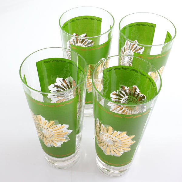 SOLD - Mid Century Modern Green & Gold Starburst Glasses by Federal Glass