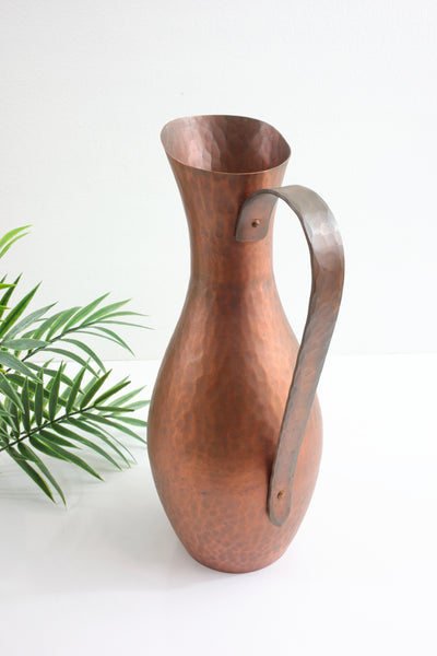 Mid Century Modern Hammered Copper Pitcher & Plate
