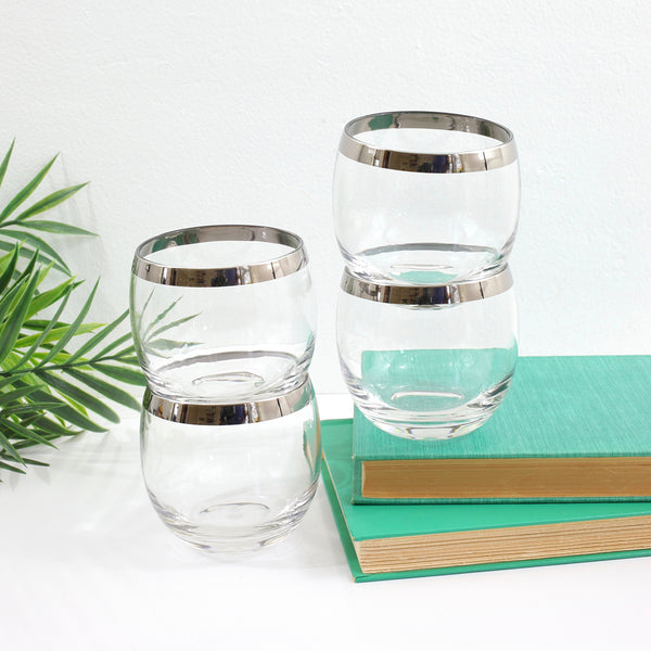 SOLD - Mid Century Modern Silver Rim Cocktail Glasses