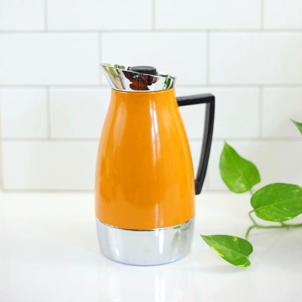 SOLD - Mid Century Modern Mustard Enamel & Chrome Insulated Carafe