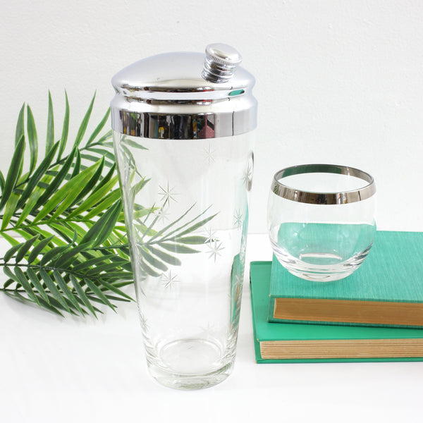 SOLD - Mid Century Modern Starburst Etched Glass Cocktail Shaker