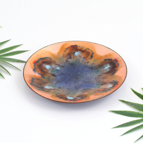 Vintage Peach & Cobalt Abstract Enamel Trinket Dish