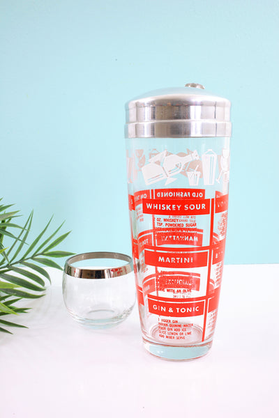 SOLD - Mid Century Red & White Recipes Cocktail Shaker