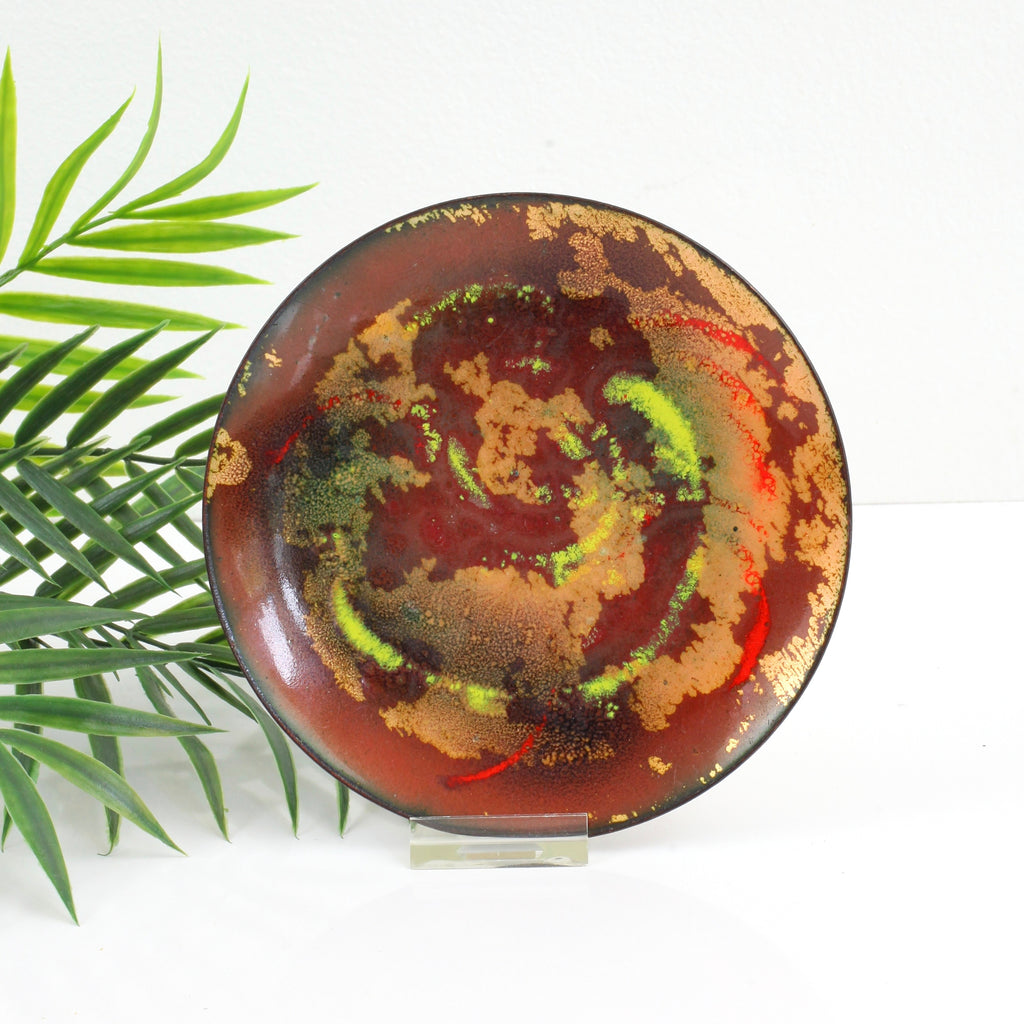 Mid Century Rust & Copper Abstract Enamel Trinket Dish
