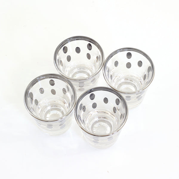 SOLD - Mid Century Silver Polka Dot Shot Glasses