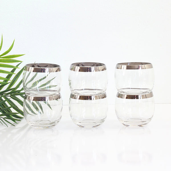 Mid Century Silver Rimmed 8oz Roly Poly Cocktail Glasses