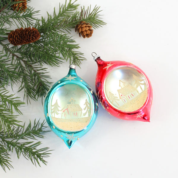 Mid Century Snowy Village Starburst Teardrop Ornaments
