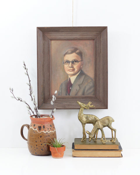SOLD - Vintage Framed Portrait Painting - Man With Glasses