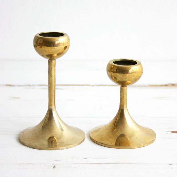 SOLD - Pair of Vintage Brass Candlesticks / Mid Century Modern Brass Candlesticks