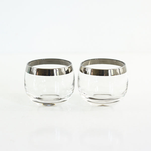 SOLD - Mid Century Modern Silver Rimmed Cocktail Glasses