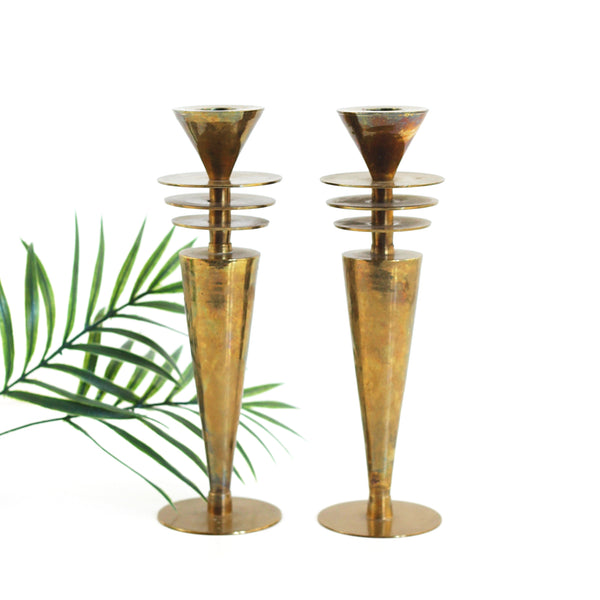 SOLD - 1930s Machine Age Brass Candlesticks