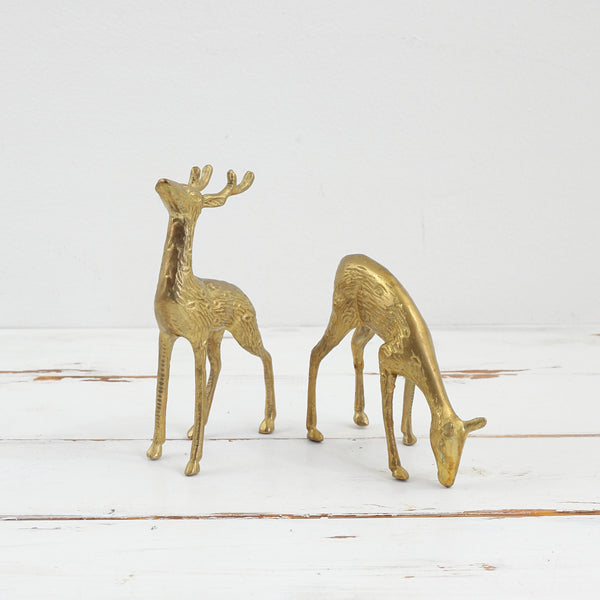 SOLD - Mid Century Modern Brass Deer Pair