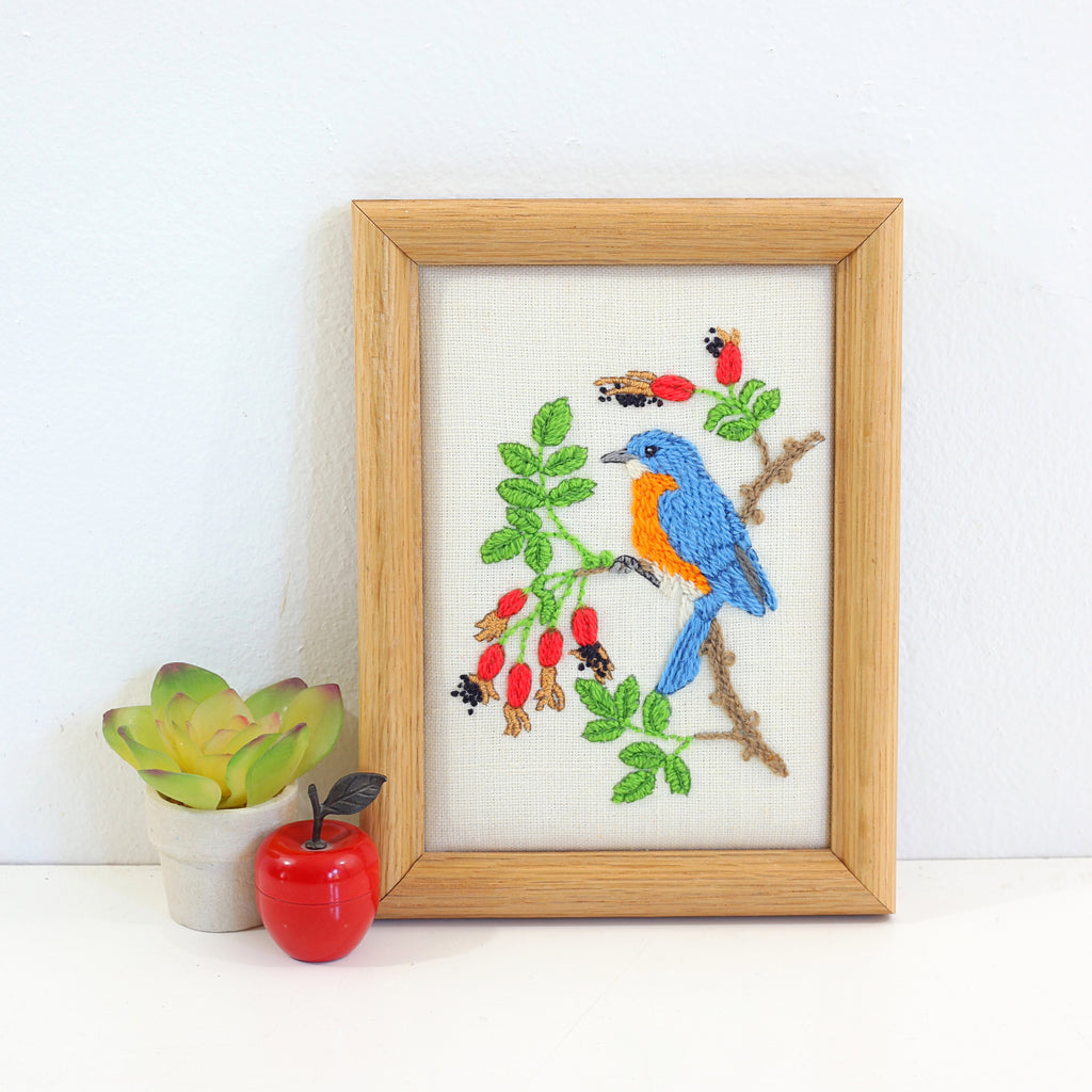 SOLD - Vintage Blue Bird Embroidery