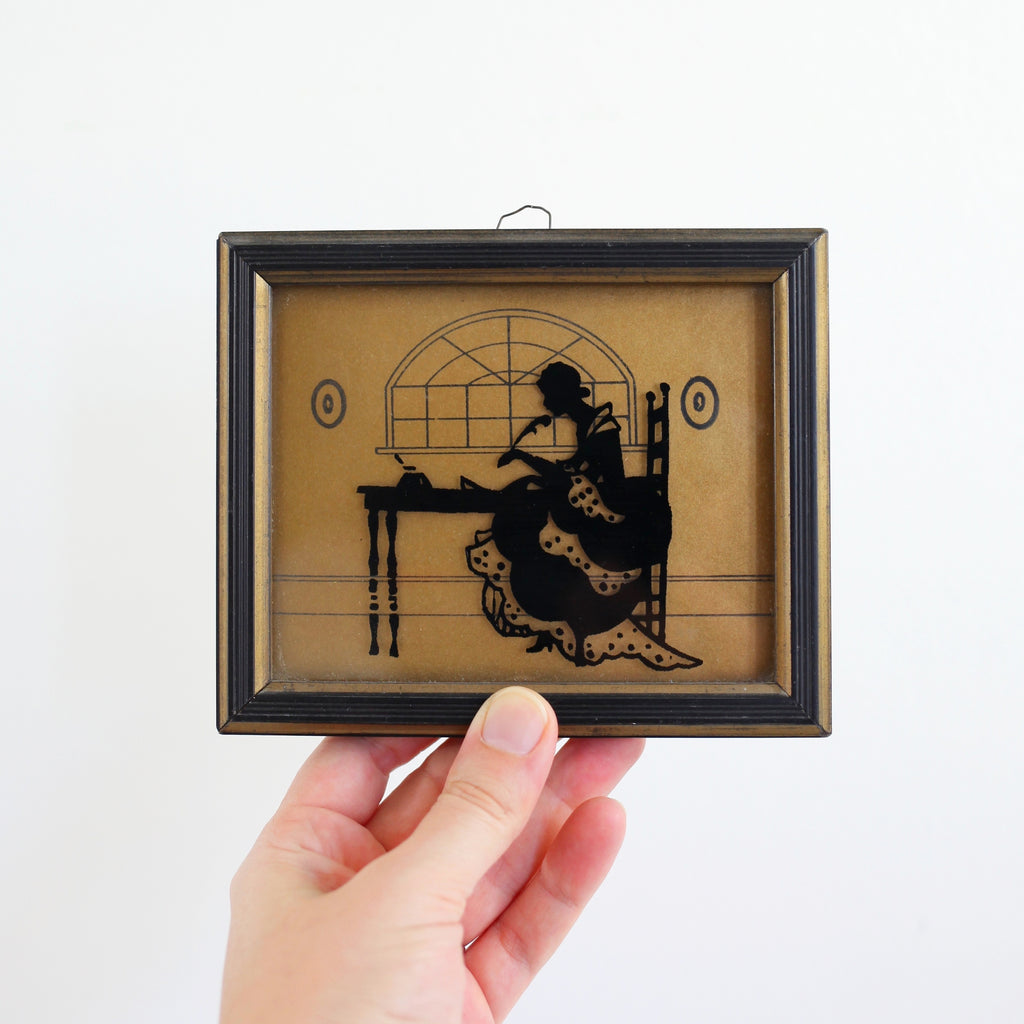 "RESERVED - Vintage 1930s Reverse Painted Silhouette ""The Missive"""