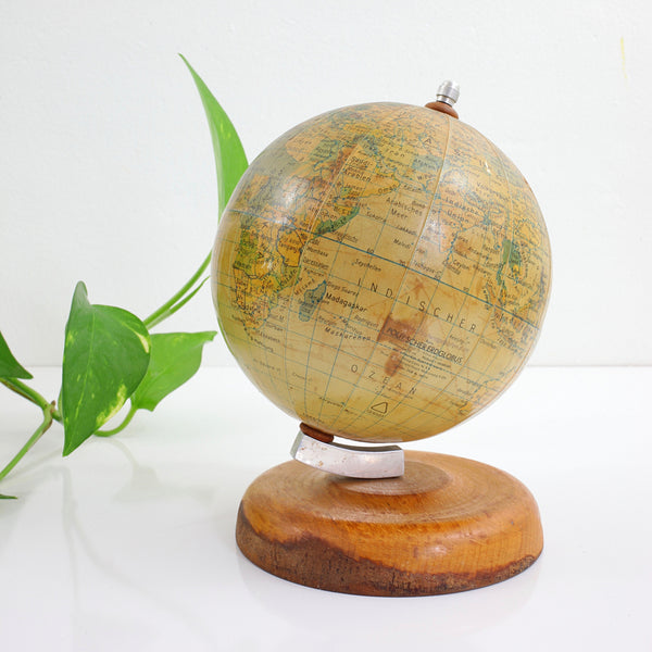 SOLD - Vintage 1950s German Globe with Wood Base / Made in GDR