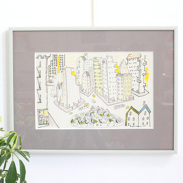 SOLD - Vintage Framed Original Artwork / City Drawing Signed Freeman '85