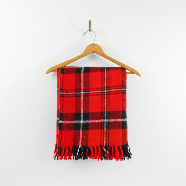 Vintage Faribo Plaid Throw Blanket / Red & Black