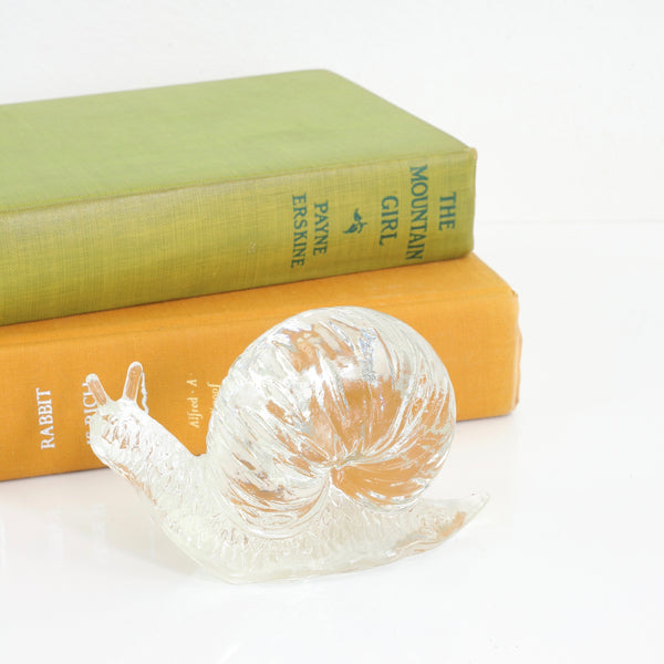 Rare Vintage Fenton Clear Glass Snail Paperweight