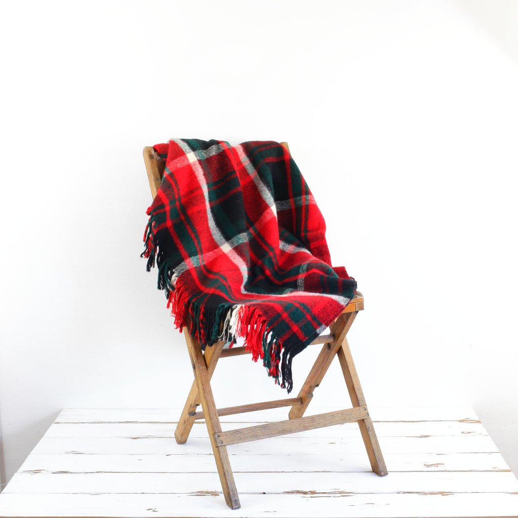 Vintage Troy Plaid Throw Blanket / Red, Hunter Green & Black