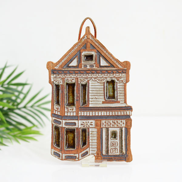 Vintage Stoneware Victorian House Trivet by Victoria Littlejohn Ceramics